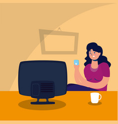 Woman watching tv stay at home campaign vector