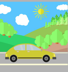 yellow car on a road on a sunny day vector image
