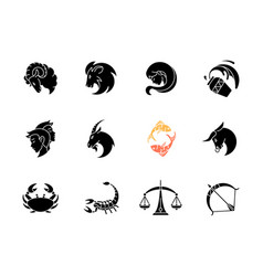 Zodiac signs black glyph icons set on white space vector