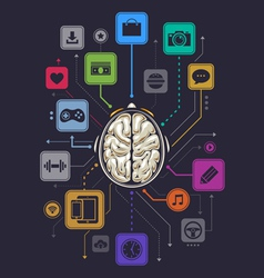 Brain activity infographics vector image vector image