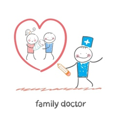 family doctor draws a heart around the family vector image