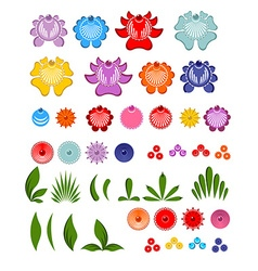 Gorodets painting set of elements Flowers and vector image vector image