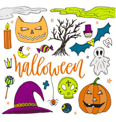 halloween hand drawn doodle icons color stickers vector image