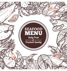 Seafood Sketch Menu vector image vector image