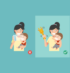 wrong and right ways playing with kids smartphone vector image vector image