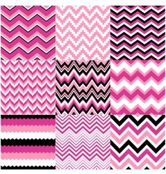 Seamless pink zig zag set vector