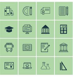 set of 16 school icons includes taped book vector image vector image