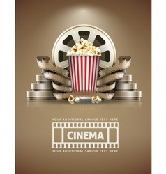 Cinema concept with popcorn vector image vector image