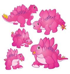 Cute stegosaurus pink vector