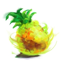 drawing pineapple vector image vector image