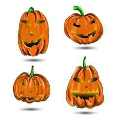 Halloween Pumpkin set isolated on white Scary Jack vector image vector image