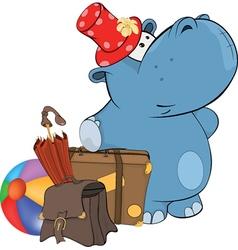 little hippo Cartoon vector image vector image