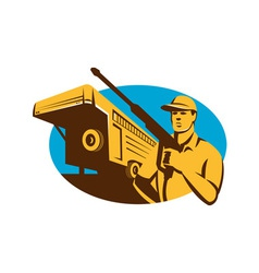 Pressure Washer Cleaner Worker Trailer Retro vector image vector image