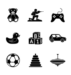 Toys icons set with - car duck bear pyramid vector image vector image