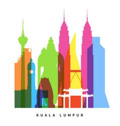 kuala lumpur landmarks bright collage vector image vector image