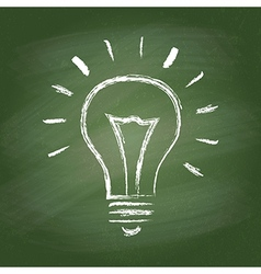 Light bulb idea chalk icon on green vector image