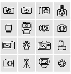 line photo icon set vector image