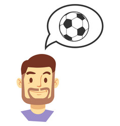 smiling man thinking about soccer game vector image