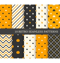 10 retro different seamless patterns Black and vector