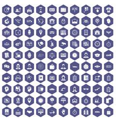 100 working hours icons hexagon purple vector