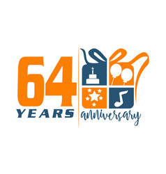 64 years gift box ribbon annivers vector image