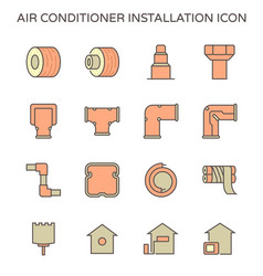 Air conditioner installation tool icon set vector