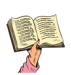 an open book in his hand reading and knowledge vector image