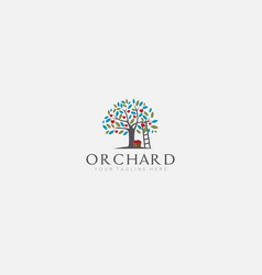 Apple tree logo designs with stairs orchard vector