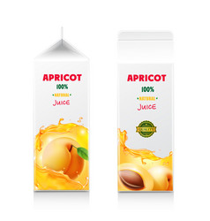 apricot juice packaging design carton box vector image