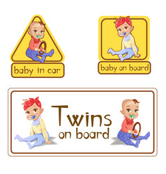 Baby in car sign stickers vector