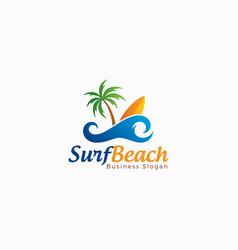 beach surf logo template vector image