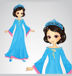 Beauty Princess In Blue Dress vector image
