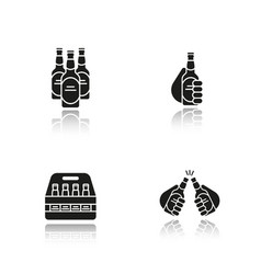 Beer drop shadow black icons set vector