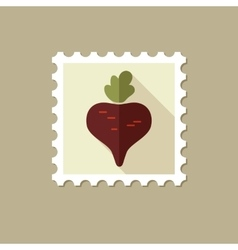 Beet flat stamp with long shadow vector image