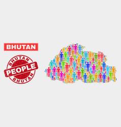 Bhutan map population people and unclean watermark vector