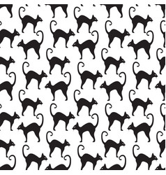 Black cat seamless pattern cats repetitive vector