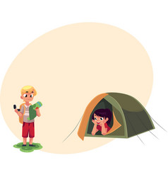 Boy studying map with compass and girl in camping vector