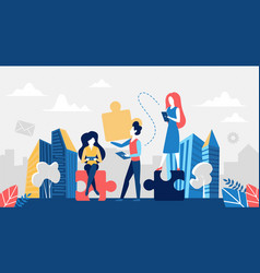 business teamwork concept people with puzzle vector image