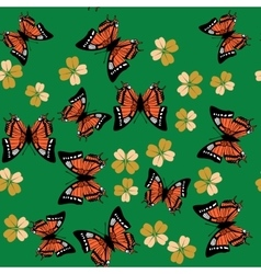 Butterfly and flower seamless pattern 672 vector image