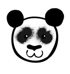 cartoon black and white panda bear face vector image