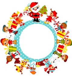 Christmas childs on planet vector