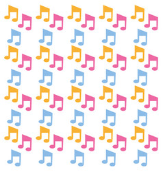 colored music notes seamless pattern vector image