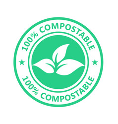 Compostable product label plastic free icon - eco vector