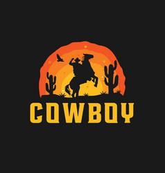Cowboy silhouette logo vector