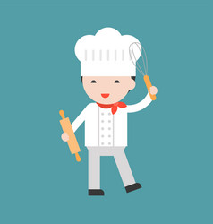 Cute pastry chef with egg whisk and rolling pin vector