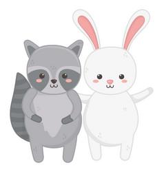 cute rabbit and raccoon waving hand vector image
