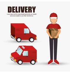 delivery concept character truck icon design vector image