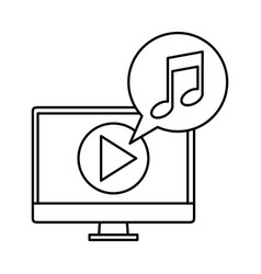 desktop with media player and music vector image