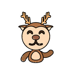 Draw deer animal comic vector