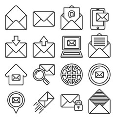 email icons set on white background line style vector image